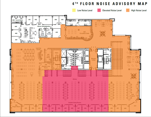 Library Noise Level Map. 5th floor quiet, 4th floor noisy